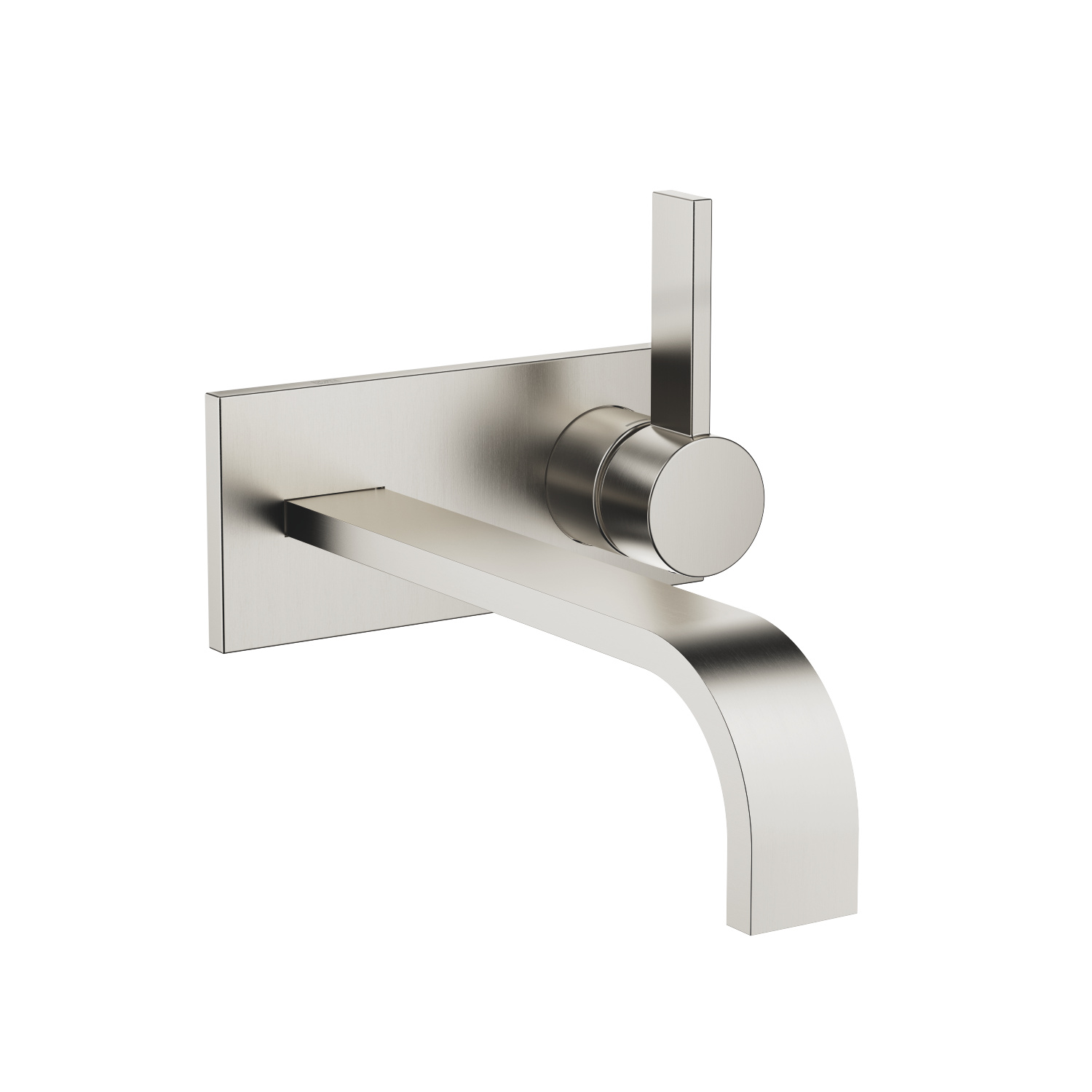 Wall-mounted single-lever basin mixer with cover plate without pop-up waste - platinum matt