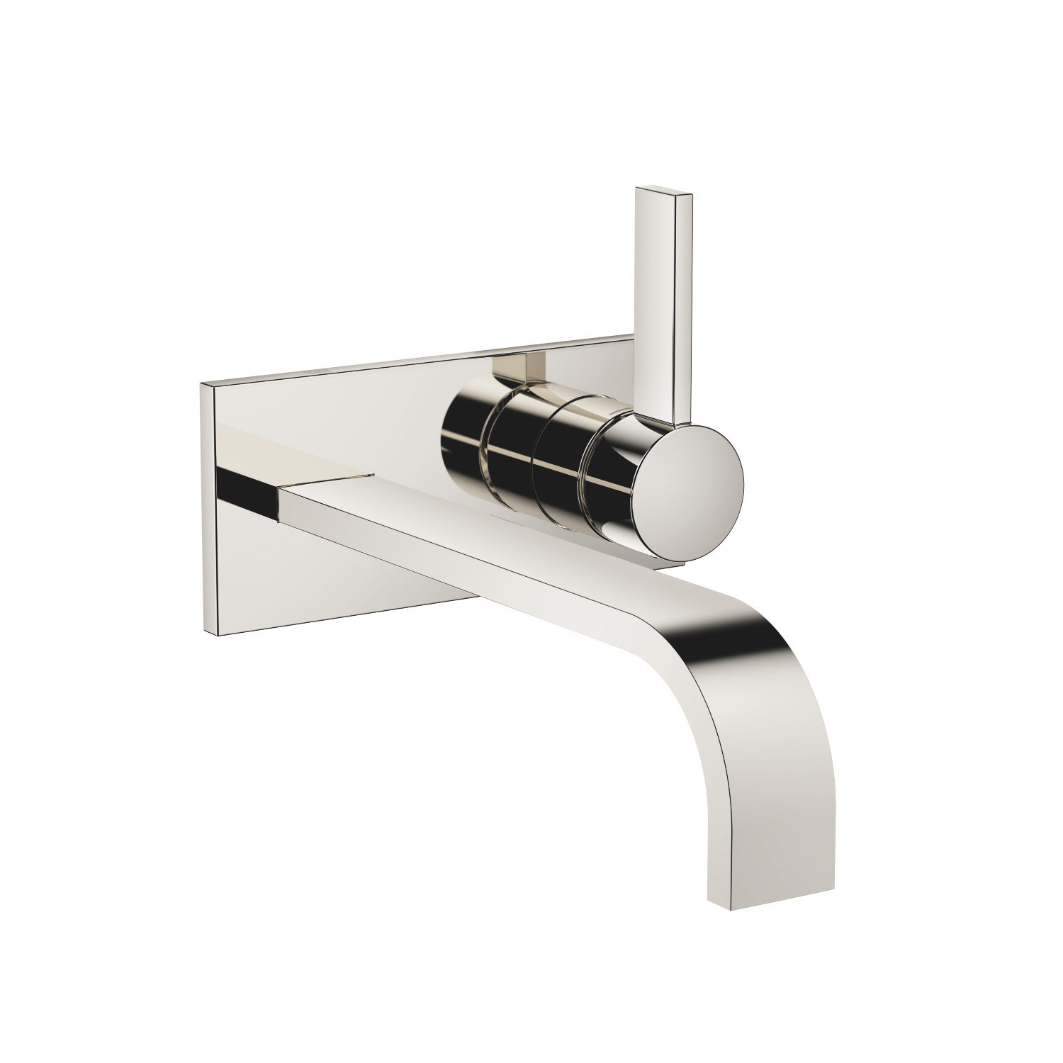 Wall-mounted single-lever basin mixer with cover plate without pop-up waste - platinum