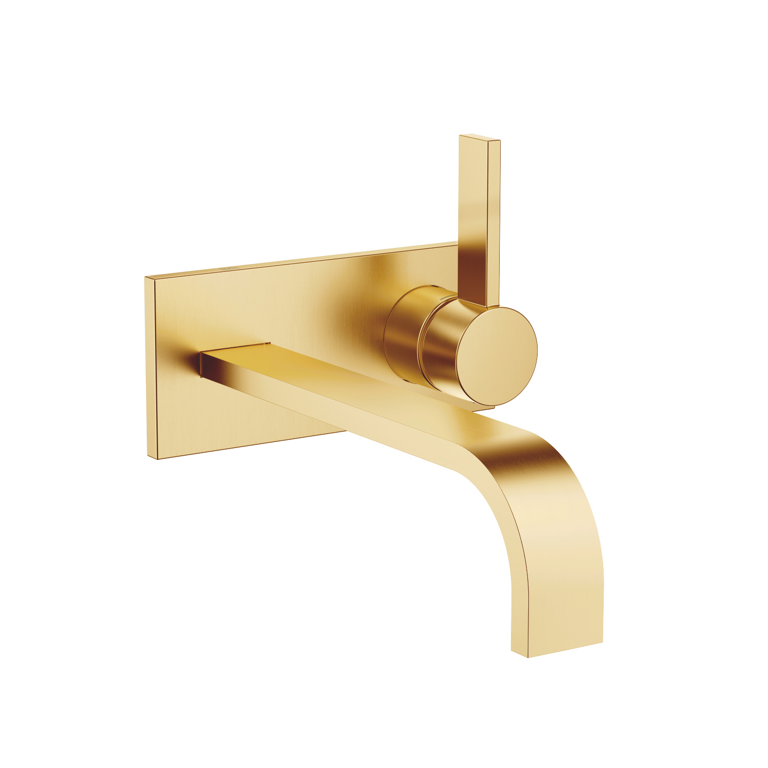 Wall-mounted single-lever basin mixer with cover plate without pop-up waste - brushed Durabrass