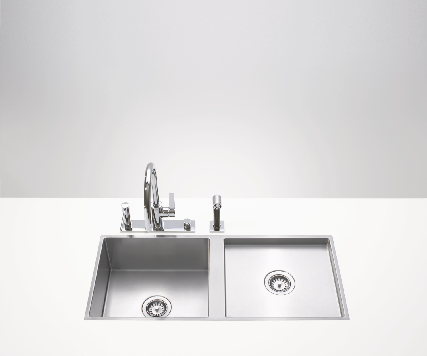 Double sink - matt high-grade steel