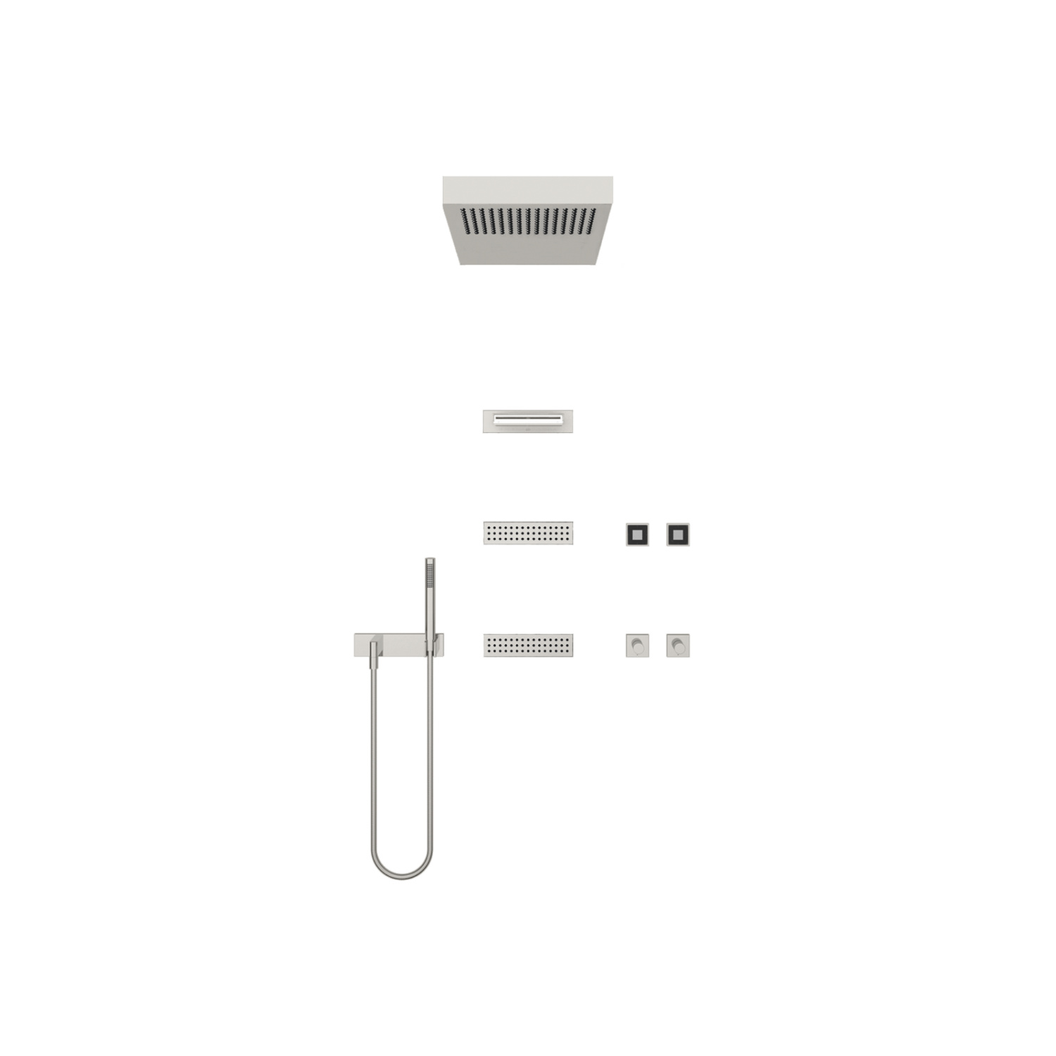 VERTICAL SHOWERᴬᵀᵀ Massage Shower  - Brushed stainless steel / platinum matt - 41 282 979-89