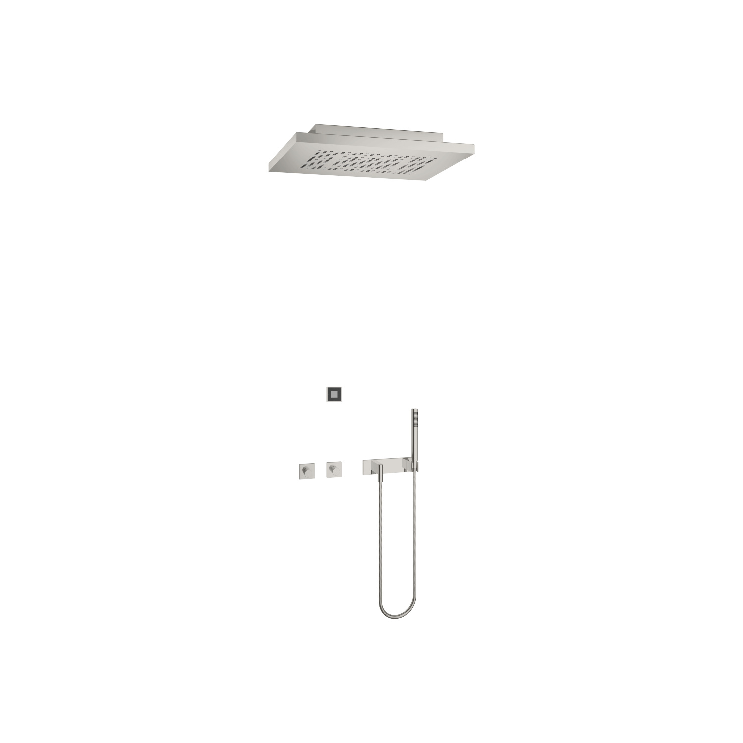 eUNIT SHOWERᴬᵀᵀ Smart Rain Shower - Brushed stainless steel / platinum matt