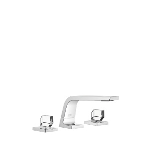 Three-hole basin mixer without pop-up waste - polished chrome - 13714705-00_1_20008705-00_1_20008706-00_1