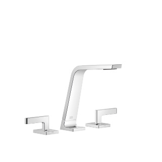 Three-hole basin mixer without pop-up waste - polished chrome - 13715705-00_1_20004715-00_1_20004716-00_1
