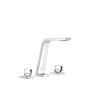 Three-hole basin mixer without pop-up waste - polished chrome - 13715705-00_1_20008705-00_1_20008706-00_1