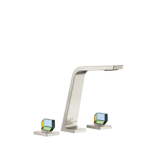 Three-hole basin mixer without pop-up waste - platinum matt - 13715705-06_1_20007705-06_1_20007706-06_1