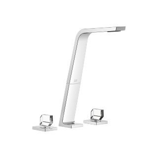 Three-hole basin mixer without pop-up waste - polished chrome - 13717705-00_1_20008705-00_1_20008706-00_1