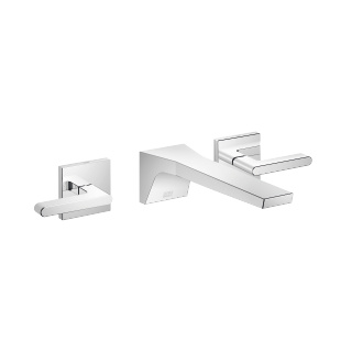 Wall-mounted three-hole lavatory mixer without drain - polished chrome - 13800705-00_1_36310716-00_1_36310717-00_1