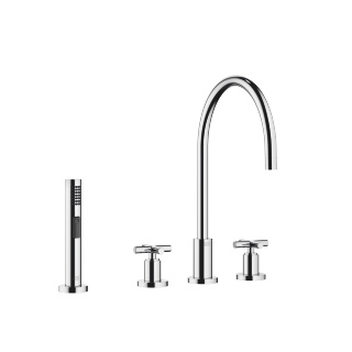 Three-hole mixer with rinsing spray set - polished chrome - 20815892-00_1_27721970-00_1