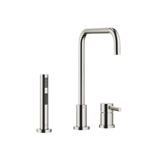 Two-hole mixer with individual rosettes with rinsing spray set - platinum matt - 32815625-06_1_27721970-06_1
