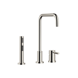 Two-hole mixer with individual rosettes with rinsing spray set - platinum - 32815625-08_1_27721970-08_1