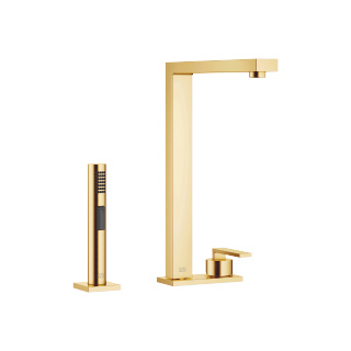 Two-hole mixer with cover plate with rinsing spray set - brushed Durabrass - 32843680-28_1_27722970-28_1