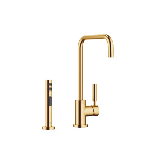 Single-lever mixer with rinsing spray set - brushed Durabrass - 33820625-280010_1_27721970-28_1