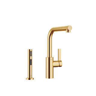 Single-lever mixer with rinsing spray set - brushed Durabrass - 33826790-28_1_27721970-28_1