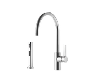 Single-lever mixer with rinsing spray set - polished chrome - 33826875-000010_1_27721970-00_1