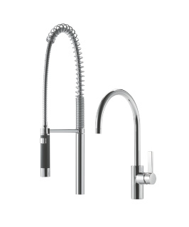 Single-lever mixer with profi spray set - platinum matt - 33826875-060010_1_27789970-060010_1
