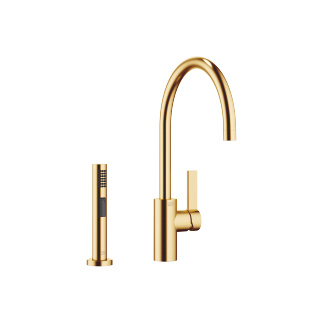 Single-lever mixer with rinsing spray set - brushed Durabrass - 33826875-28_1_27721970-28_1
