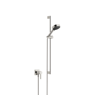 Concealed single-lever mixer with integrated shower connection with shower set - platinum - 36013970-08_1_28012979-08_1