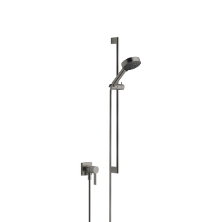 Concealed single-lever mixer with integrated shower connection with shower set - Dark Platinum matt - 36013970-99_1_28012979-99_1