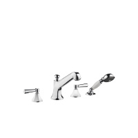Deck-mounted tub mixer, with hand shower set for deck-mounted tub installation - polished chrome - 27502370-00