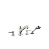 Deck-mounted tub mixer, with hand shower set for deck-mounted tub installation - platinum matte - 27502370-06