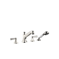 Deck-mounted tub mixer, with hand shower set for deck-mounted tub installation - platinum - 27502370-08