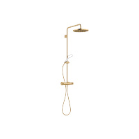 Showerpipe with shower thermostat without hand shower - brushed Durabrass - 34460979-28