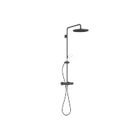 Showerpipe with shower thermostat without hand shower - matt black - 34460979-33